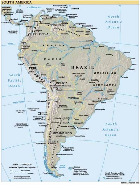 Open A Map Showing Countries And Major Cities Of South America